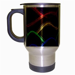 Twizzling Brain Waves Neon Wave Rainbow Color Pink Red Yellow Green Purple Blue Black Travel Mug (silver Gray) by Alisyart