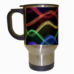 Twizzling Brain Waves Neon Wave Rainbow Color Pink Red Yellow Green Purple Blue Black Travel Mugs (white)