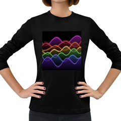 Twizzling Brain Waves Neon Wave Rainbow Color Pink Red Yellow Green Purple Blue Black Women s Long Sleeve Dark T Shirts
