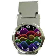 Twizzling Brain Waves Neon Wave Rainbow Color Pink Red Yellow Green Purple Blue Black Money Clip Watches