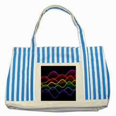 Twizzling Brain Waves Neon Wave Rainbow Color Pink Red Yellow Green Purple Blue Black Striped Blue Tote Bag by Alisyart