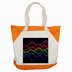 Twizzling Brain Waves Neon Wave Rainbow Color Pink Red Yellow Green Purple Blue Black Accent Tote Bag