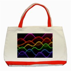 Twizzling Brain Waves Neon Wave Rainbow Color Pink Red Yellow Green Purple Blue Black Classic Tote Bag (red) by Alisyart