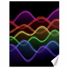 Twizzling Brain Waves Neon Wave Rainbow Color Pink Red Yellow Green Purple Blue Black Canvas 36  X 48   by Alisyart