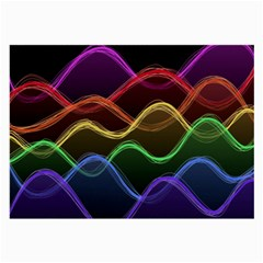 Twizzling Brain Waves Neon Wave Rainbow Color Pink Red Yellow Green Purple Blue Black Large Glasses Cloth (2 Side) by Alisyart