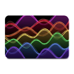 Twizzling Brain Waves Neon Wave Rainbow Color Pink Red Yellow Green Purple Blue Black Plate Mats by Alisyart
