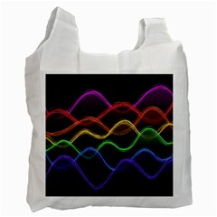 Twizzling Brain Waves Neon Wave Rainbow Color Pink Red Yellow Green Purple Blue Black Recycle Bag (two Side)  by Alisyart