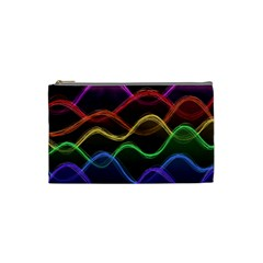 Twizzling Brain Waves Neon Wave Rainbow Color Pink Red Yellow Green Purple Blue Black Cosmetic Bag (small)