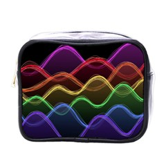 Twizzling Brain Waves Neon Wave Rainbow Color Pink Red Yellow Green Purple Blue Black Mini Toiletries Bags
