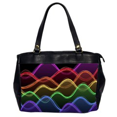 Twizzling Brain Waves Neon Wave Rainbow Color Pink Red Yellow Green Purple Blue Black Office Handbags (2 Sides)  by Alisyart