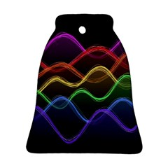 Twizzling Brain Waves Neon Wave Rainbow Color Pink Red Yellow Green Purple Blue Black Ornament (bell)