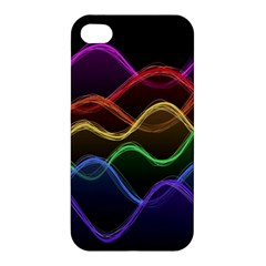 Twizzling Brain Waves Neon Wave Rainbow Color Pink Red Yellow Green Purple Blue Black Apple Iphone 4/4s Hardshell Case