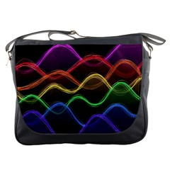 Twizzling Brain Waves Neon Wave Rainbow Color Pink Red Yellow Green Purple Blue Black Messenger Bags by Alisyart