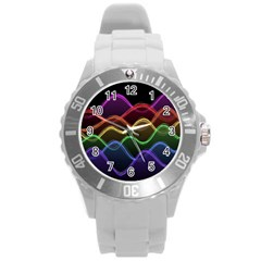 Twizzling Brain Waves Neon Wave Rainbow Color Pink Red Yellow Green Purple Blue Black Round Plastic Sport Watch (l)