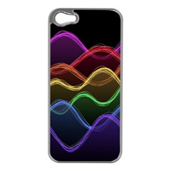 Twizzling Brain Waves Neon Wave Rainbow Color Pink Red Yellow Green Purple Blue Black Apple Iphone 5 Case (silver) by Alisyart