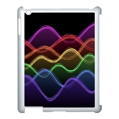 Twizzling Brain Waves Neon Wave Rainbow Color Pink Red Yellow Green Purple Blue Black Apple Ipad 3/4 Case (white)