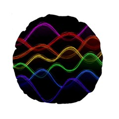 Twizzling Brain Waves Neon Wave Rainbow Color Pink Red Yellow Green Purple Blue Black Standard 15  Premium Round Cushions by Alisyart