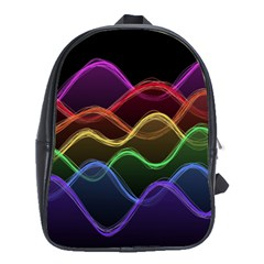 Twizzling Brain Waves Neon Wave Rainbow Color Pink Red Yellow Green Purple Blue Black School Bags (xl)