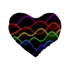 Twizzling Brain Waves Neon Wave Rainbow Color Pink Red Yellow Green Purple Blue Black Standard 16  Premium Heart Shape Cushions by Alisyart
