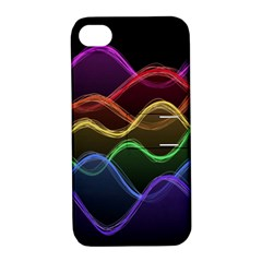 Twizzling Brain Waves Neon Wave Rainbow Color Pink Red Yellow Green Purple Blue Black Apple Iphone 4/4s Hardshell Case With Stand