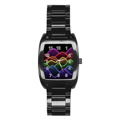 Twizzling Brain Waves Neon Wave Rainbow Color Pink Red Yellow Green Purple Blue Black Stainless Steel Barrel Watch
