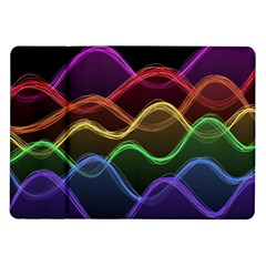 Twizzling Brain Waves Neon Wave Rainbow Color Pink Red Yellow Green Purple Blue Black Samsung Galaxy Tab 10 1  P7500 Flip Case
