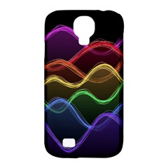 Twizzling Brain Waves Neon Wave Rainbow Color Pink Red Yellow Green Purple Blue Black Samsung Galaxy S4 Classic Hardshell Case (pc+silicone)