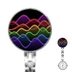 Twizzling Brain Waves Neon Wave Rainbow Color Pink Red Yellow Green Purple Blue Black Stainless Steel Nurses Watch by Alisyart