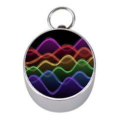 Twizzling Brain Waves Neon Wave Rainbow Color Pink Red Yellow Green Purple Blue Black Mini Silver Compasses by Alisyart