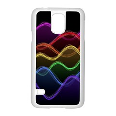 Twizzling Brain Waves Neon Wave Rainbow Color Pink Red Yellow Green Purple Blue Black Samsung Galaxy S5 Case (white)