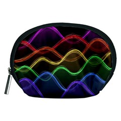 Twizzling Brain Waves Neon Wave Rainbow Color Pink Red Yellow Green Purple Blue Black Accessory Pouches (medium)