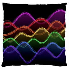 Twizzling Brain Waves Neon Wave Rainbow Color Pink Red Yellow Green Purple Blue Black Large Flano Cushion Case (two Sides)
