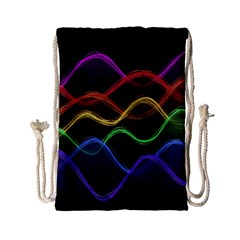 Twizzling Brain Waves Neon Wave Rainbow Color Pink Red Yellow Green Purple Blue Black Drawstring Bag (small)