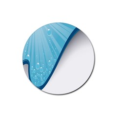 Water Bubble Waves Blue Wave Rubber Coaster (round)  by Alisyart