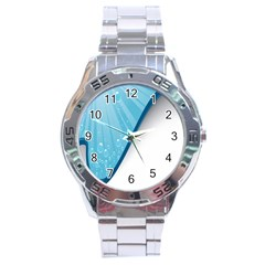 Water Bubble Waves Blue Wave Stainless Steel Analogue Watch by Alisyart