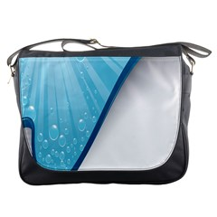 Water Bubble Waves Blue Wave Messenger Bags by Alisyart