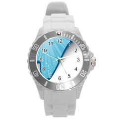 Water Bubble Waves Blue Wave Round Plastic Sport Watch (l) by Alisyart