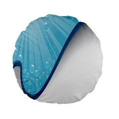 Water Bubble Waves Blue Wave Standard 15  Premium Flano Round Cushions by Alisyart