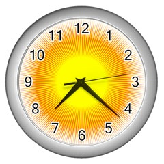 Sunlight Sun Orange Yellow Light Wall Clocks (silver)  by Alisyart