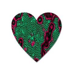 Reaction Diffusion Green Purple Heart Magnet by Alisyart