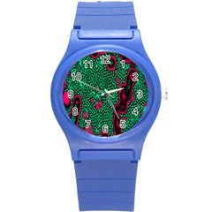 Reaction Diffusion Green Purple Round Plastic Sport Watch (s)
