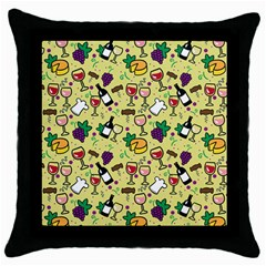 Wine Cheede Fruit Purple Yellow Throw Pillow Case (black) by Alisyart