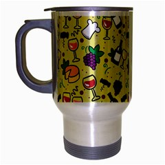 Wine Cheede Fruit Purple Yellow Travel Mug (silver Gray) by Alisyart
