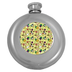 Wine Cheede Fruit Purple Yellow Round Hip Flask (5 Oz) by Alisyart