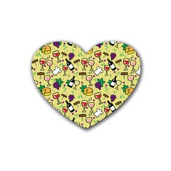 Wine Cheede Fruit Purple Yellow Rubber Coaster (heart)