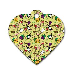 Wine Cheede Fruit Purple Yellow Dog Tag Heart (two Sides)