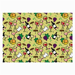 Wine Cheede Fruit Purple Yellow Large Glasses Cloth (2 Side) by Alisyart