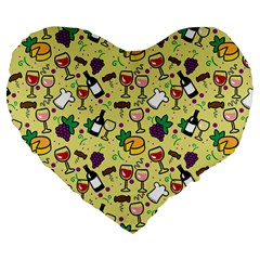 Wine Cheede Fruit Purple Yellow Large 19  Premium Flano Heart Shape Cushions