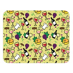 Wine Cheede Fruit Purple Yellow Double Sided Flano Blanket (large)