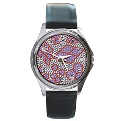 Triangle Plaid Circle Purple Grey Red Round Metal Watch by Alisyart